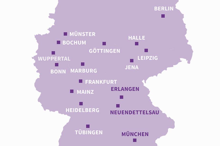 Studienorte in Deutschland - Karte